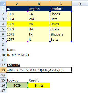How to Use INDEX MATCH